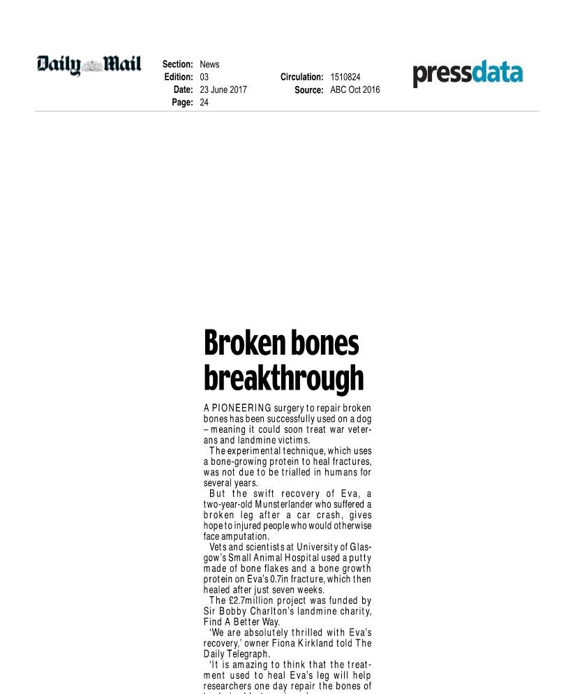 MiMe's bone regeneration technology used in veterinary experimental